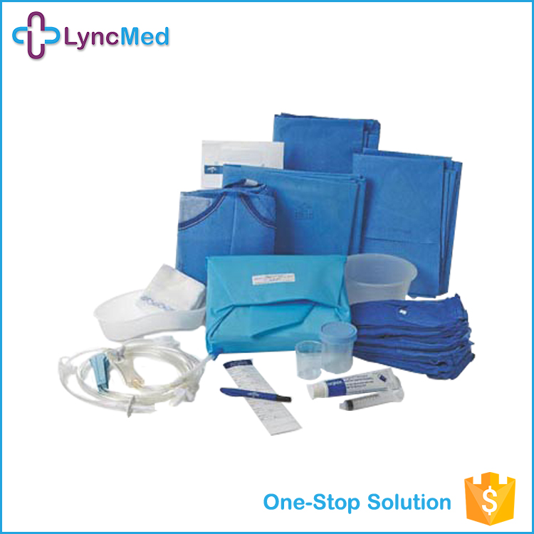 High quality disposable nonwoven EO sterilize surgical drape pack / kits / Reinforced Surgical Gown