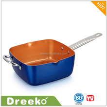High Quality Aluminum Copper Non-stick Square Deep Fry Pan