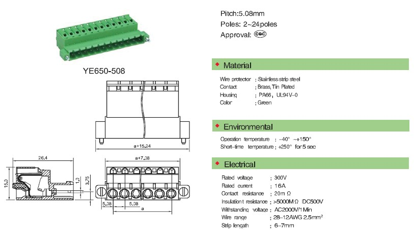 male and female low voltage terminal block pitch connector