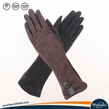 Faux suede and sheepskin leather stitching gloves