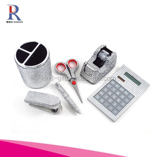 6 Piece Clear Crystal Office Supply Set: Pen Holder, Scissors, Calculator, Pen, Tape Dispenser & Stapler