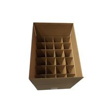 Strong brown kraft 24 bottles corrugated cardboard packaging beer wine box with dividers