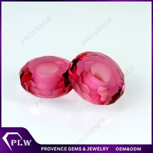 High quality machine cut rose color crystal glass large hole beads gemstones