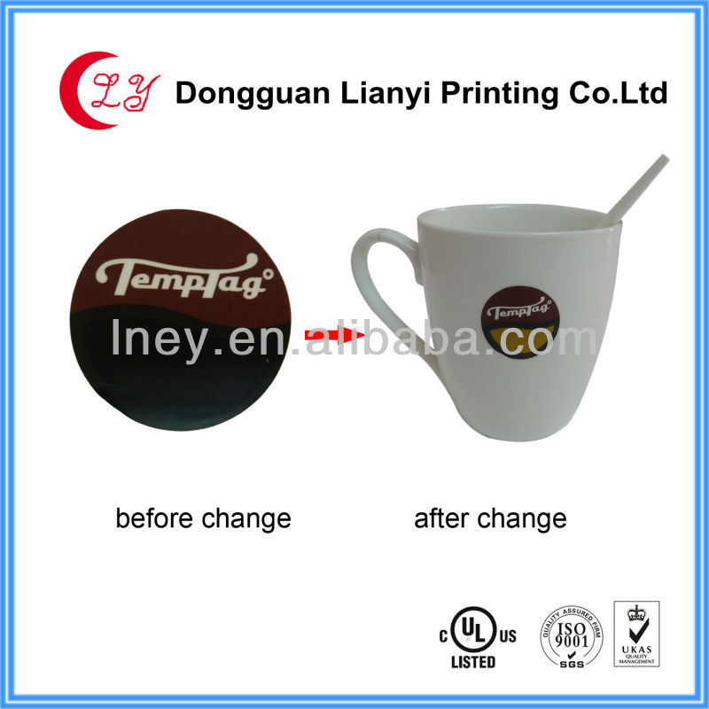 2013 paper PVC temperature indicator label heat sensitive color changing sticker