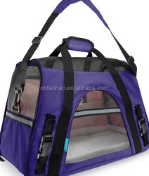 For Amazon and E-bay Wholesale, soft-side purple pet carrier bag Nylon Mesh Fleece 600D oxford, Pet carrier bag