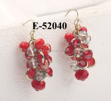Beautil red crystal beads earring, Shinny crystal earring hadmade, cheap jewelry red bead earrings