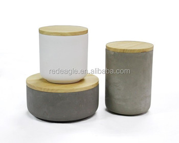 NATURAL wood lid decoration eco-friendly concrete storage canister