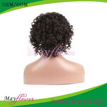 Fashionable Braided Short Afro Curl Human Hair Lace Wig For Black Women