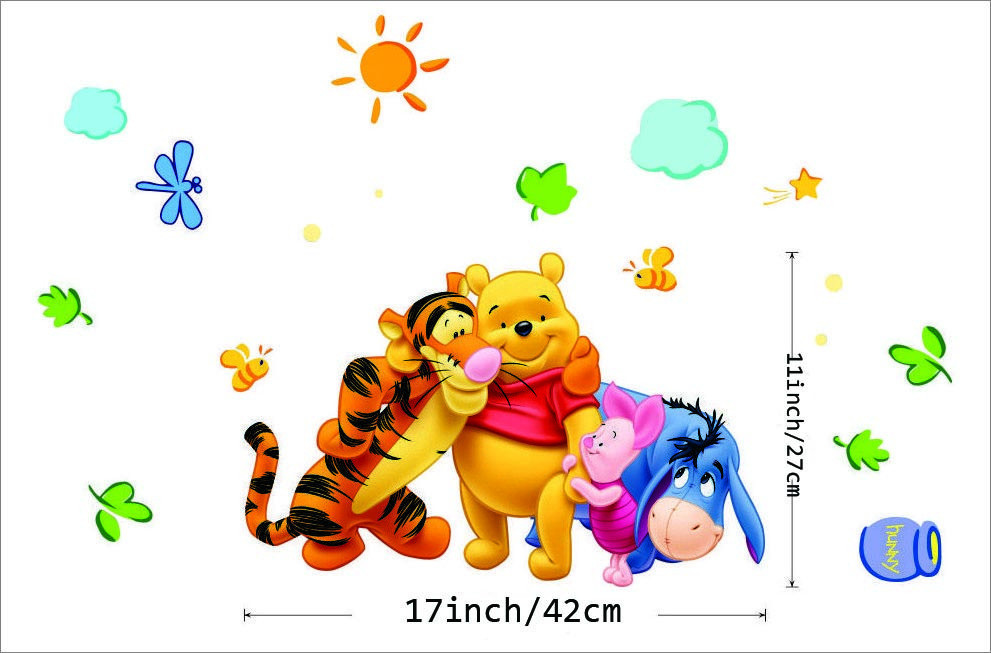 Winnie the Pooh Cartoon Animal Removable Environmental PVC Wall Sticker Decals for Kids Children Rooms Decoration