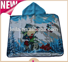 75x100cm print two layers kids hooded blankets