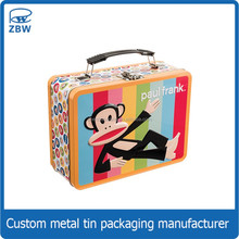 Wholesale cartoon printing cheap lunch tin box with handle