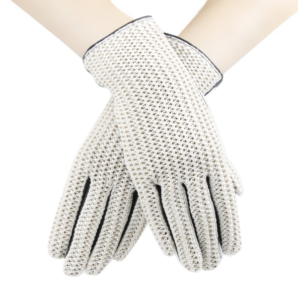 Leather Splicing Women Cotton Knitted Gloves Contrast Color