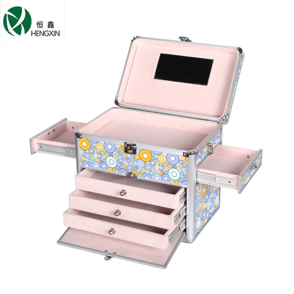 With drawer with mirror beautiful cosmetic case for lady