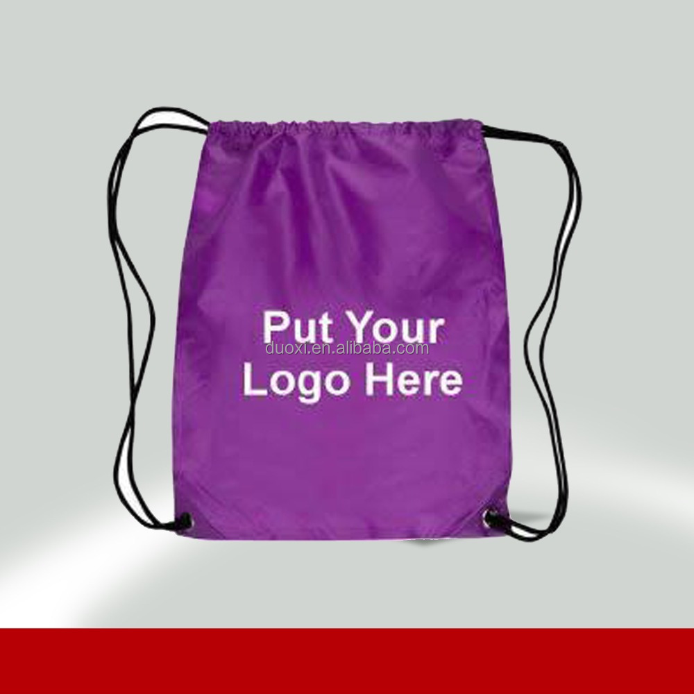 Purple drawtring no woven cheap logo shopping tote bags 100% manufacturer