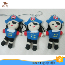 custom pirate shaped plush keychain doll toy