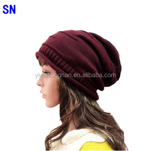 New Fashion Boys&girls Unisex Folded Knitted Wool Hat Autumn Winter Beanie Caps