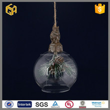 Hot sell hanging christmas glass ball squirrel pine tree,christmas ornaments