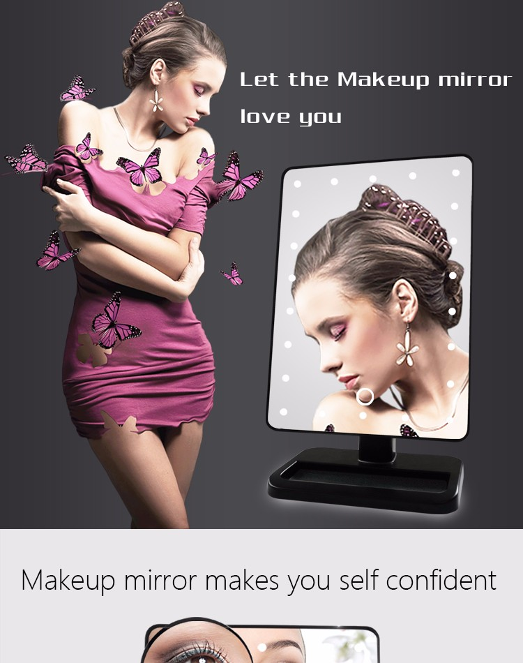 Touch screen sensing rotatable makeup LED mirror with light
