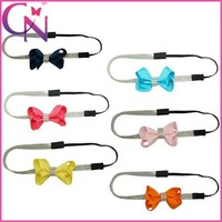 Wholesale Infant Rhinestone Cheaper Hair Ornaments Bling Hair Bow Elastic Band For Girls (CNHD-1504175)