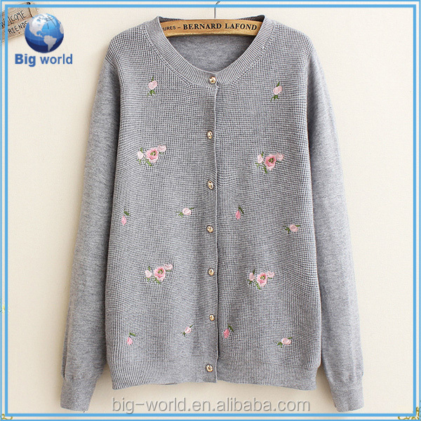 ladies fashion flower embroider cardigan sweater designs for women,latest new style sweater & elegant cardigan for ladies