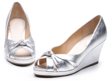 2014 wholesale china women fancy wedge heel silver dress shoes