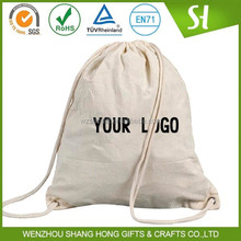Recycle printed cotton drawstring bag