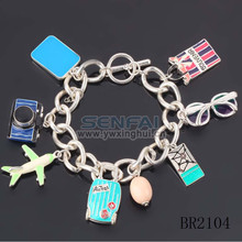 All-match Coarse Chain Bracelets silver Airplane/Camera/Sunglasses/Suitcase Travel Series Bracelets & Bangles Women Bracelet