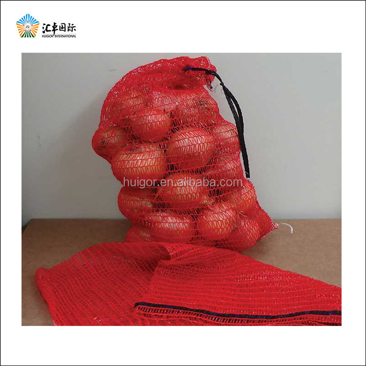 Selling good quality open weaving leno mesh bags for onions agricultural products packaging
