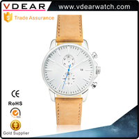 Classic simple style hand watch for man leather strap watch