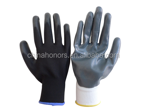 nylon glove super quality nitrile plam dipped nylon working glove safety glove