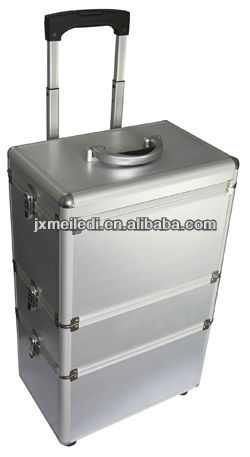 professional silver wholesale aluminum makeup trolley case with wheels
