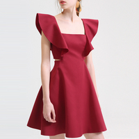 Latest Western Hot Red Casual Dress Patterns For Ladies Fashion Clothing