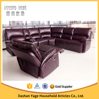 2015 new design big corner leather recliner sofa semi-circle sectional sofa