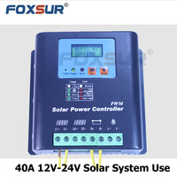 40A 12V-24V PWM Solar Charge Controller, with LCD display battery voltage and capacity, PWM Charging for Off Grid PV Controller