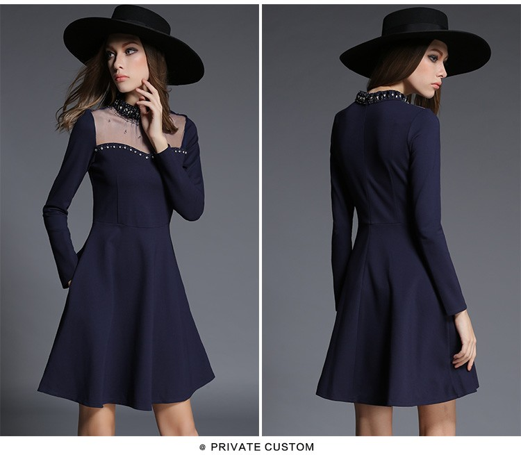 Best selling muslin stand collar sequin long sleeve ladies one piece dress