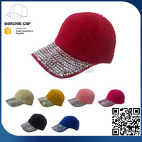 China factory directly winner 2017 new style colorful sports hats fashion fur baseball cap decorated with rhinestone
