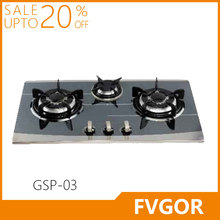 Fvgor GSP-03 Stainless steel metal knob three burner gas stove