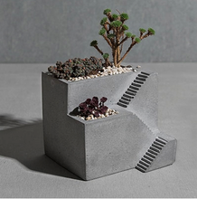 Gray Cement Flower Planter Pot 2 floor Staircase shape Concrete Desktop Planter House Plant