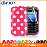 Set Screen Protector And Case For Blackberry 9320 , Polka Dots Gel TPU 2D Sublimation Phone Case