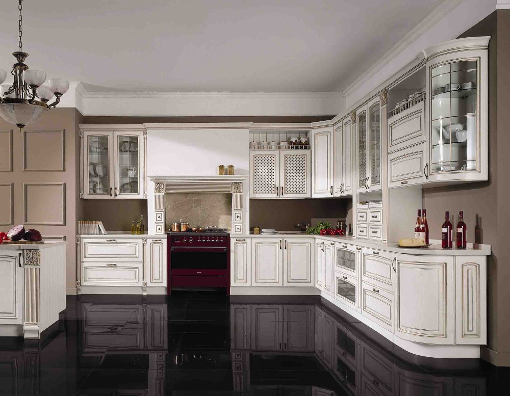 China cheap modern white solid wood kitchen cabinet unit for Inexpensive wood kitchen cabinets