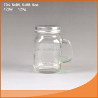 Food safe clear 128ml mini glass mason jar with handle from China