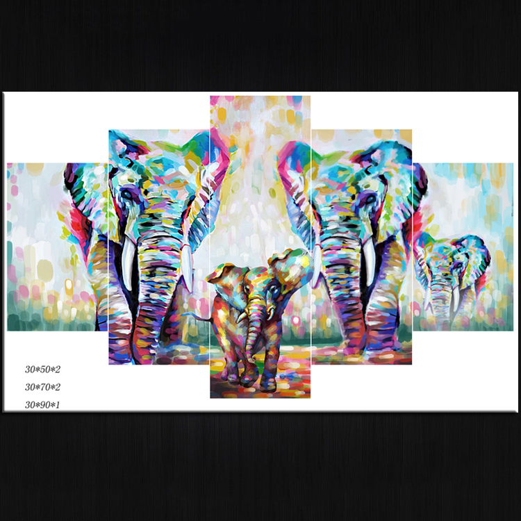 Modern popular canvas art abstract dazzle the elephant 5 print adornment picture