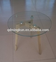 Glass top wood leg carved nest of 3 tables