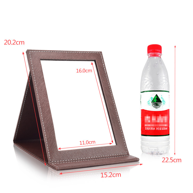 Promo custom pu leather folding cosmetic table mirror