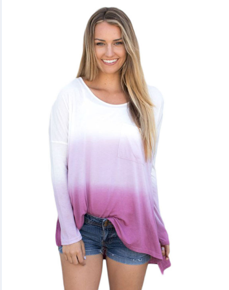 Women Gradient Long Sleeve Side Split O-Neck Camisas Femininas Casual Tees ombre Loose T-shirt Tops
