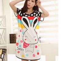 monroo 2016 Summer Wear Sleeping Dress Short Sleeve Cute Printed Cartoon Animals Rabbit Indoor Nightgown Sleepwear free Size