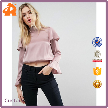 customize long sleeve satin blouse designs,new design shirt blouse material