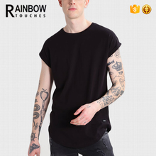 Fashion Summer Soft 100% Cotton Black Plain Dyed Blank T Shirt For Men
