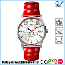 Shine red genuine leather band Japanese Miyota GL30 movement modern ladies fancy watches for girls