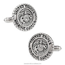 Blank silver marine corps military luxury cufflinks for men